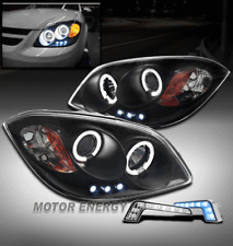 05-10 CHEVY COBALT CCFL HALO LED BLACK PROJECTOR HEADLIGHTS LAMP W/BLUE DRL KIT