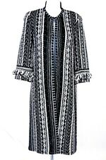 NWOT ST.JOHN Womens Knit Tweed Black White Pink Fringed Topper Long Jacket Sz 8