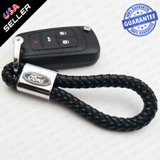 Universal Ford Logo Ebmlem Black Calf Leather Keychain Ring Decoration Gift (Fits: Ford Aerostar)