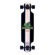 Landshark Island Style Retro Wooden Longboard with 7 Inch Aluminum Trucks, Black