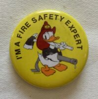 Vintage Disney Products I'm A Fire Safety Expert Donald Duck Fireman Pin 1984