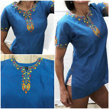 VINTAGE MEXICAN styl EMBROIDERED TUNIC TOP 8 10 Blue boho FRANCE Festival hippie