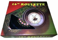 MONSTER 16 INCH BOXED ROULETTE SET -WHEEL FELT 120 CHIPS RAKE
