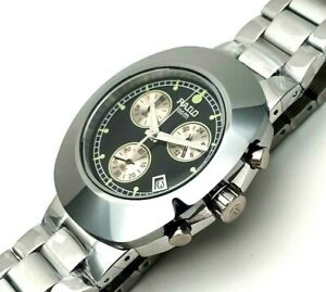 Vintage Rado Diastar Chronograph Silver Black Dial Men's Wrist Watch