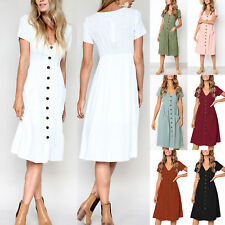 Women Beach Holiday Button Down Dress Summer Loose Pocket Swing Sundress Midi AU