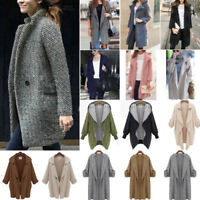 Plus Size Women's Winter Long Jacket Trench Coat Blazer Parka Overcoat Outwear