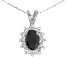 """10k White Gold Oval Onyx And Diamond Pendant with 16"""" Chain"""