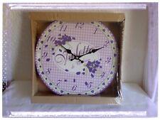 Pendel Wanduhr violett Toulouse Vichy violett neu