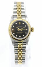 ROLEX OYSTER PERPETUAL 67103 WRISTWATCH BLACK DIAMOND DIAL 18K GOLD STAINLESS
