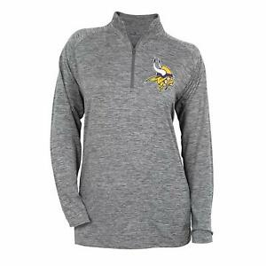 Zubaz NFL Football Women's Minnesota Vikings Tonal Gray Quarter Zip Sweatshirt