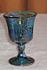 Vintage Carnival Glass Goblet Blue Harvest Grapes Design Great Wine Glass