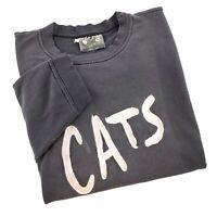 Vintage 80s Cats Musical Black Crewneck Sweatshirt Broadway Embroidered Sun Fade