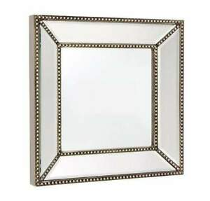 Zeta Silver Beaded Frame Decorative Wall Mirror Small - 40129