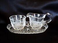 Cut Crystal Rose Pattern Sugar Bowl & Creamer Set with Tray