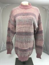 Vtg HANG TEN Pink NORDIC Wool CREWNECK Tunic Dress KNITTED SWEATER SIZE M