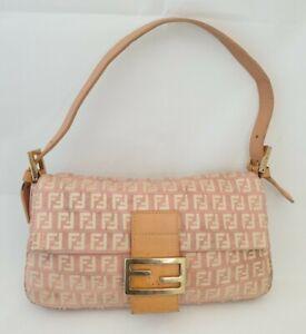 Authentic Fendi Baguette Vintage Pink Zucchino monogram Bag