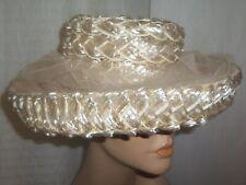 Vintage Women's Raffia Wide Rolled Brim Hat Ranleigh