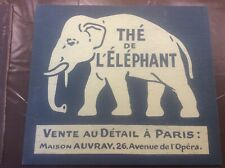 """More details for vintage french sign advertising elephant tea with paris address 18x16"""" in blue"""
