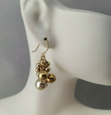 Silver & Gold Tone Grape Dangle Cluster Beads Hook Earrings Mod ChaCha Vintage