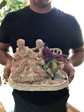 Antique German Porcelain Dresden Group Man Lady Figurine Germany Doll Meissen
