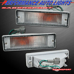 Pair Clear Signal Bumper Lights for 88-97 Nissan D21 Hardbody / 88-95 Pathfinder