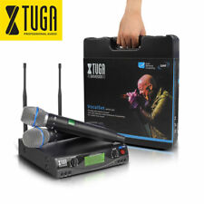 Potable 200 Channel UHF Pro Dual Wireless Microphone System for Stage with Case