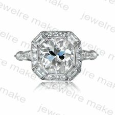 Certified 2.20ct Round Cut Diamond Vintage Art Deco Engagement 14K Gold Ring