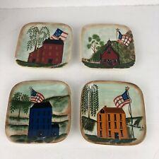 Revolutionary Era Country Rustic Farm House Design Ceramic Plates Americana