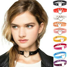 Retro Gothic Lolita Grunge Punk Love Heart Leather Rivet Collar Choker Necklace
