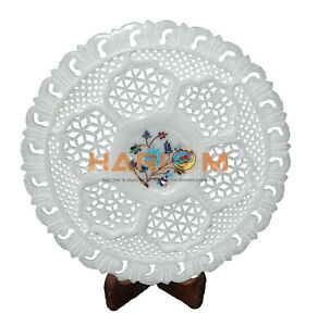 "12"" Marble Designer Plate Lattice Turquoise Floral Inlay Art Wall Decors P096"