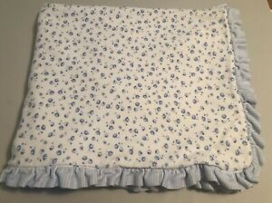 Carters Blue White Flower Baby Blanket Daisy Ruffled Trim 2 Ply Cotton Plush GUC