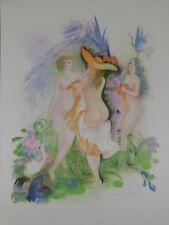 Lithografie Amandine Doré - Nus aux Oiseaux