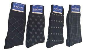 Mens Dress Socks Size 6-12 Black Patterned Geometric Fashion 4 Pairs - Juncture