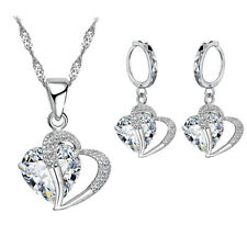 My Sweetheart Love Heart Silver Cubic Zircon Earring and Necklace Set, SS-101