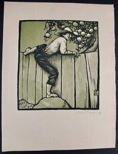"""Allen Lewis Color Woodcut Print Of Young Boy On A Fence Signed 16"""" X 11 3/4"""""""