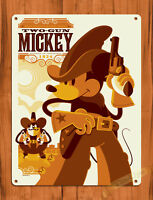 "TIN SIGN ""Two Gun Mickey"" Disney Mouse Art Wall Decor"