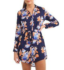 Womens Size 8 to 16 Longline Chiffon Shirt Dress Floral Dresses Navy Orange