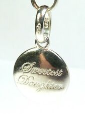 RARE LINKS OF LONDON SILVER SWEETEST DAUGHTER DISK TAG BRACELET CHARM PENDANT