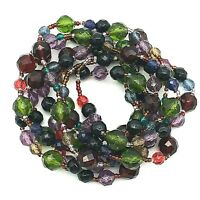"Two Strand Faceted Lucite Rainbow Color Beads w/Seed Bead Spacers 30"" Necklace"