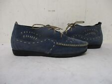 MINNETONKA Blue Suede Leather Lace Up Ankle Boots Moccasins Size 7.5 Style 799