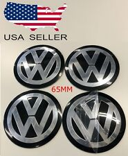 "4 PCS Black VW 65mm (2.5"") CENTER CAPS Decals STICKERS for VOLKSWAGEN *USA*"