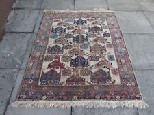 Antique Worn Traditional Hand Made Oriental Beige Pink Wool Small Rug 145x123cm