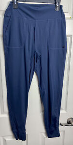 Glyder L Blue Drawstring High Waist Workout Pants Bottoms Leggings