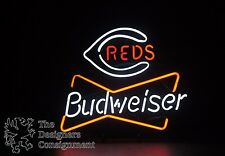 Budweiser Brand Beer Cincinnati Reds Baseball Logo Neon Bar Sign Decor Red White