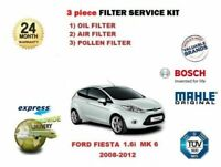 FOR FORD FIESTA 1.6 2008-2012 OIL AIR POLLEN 3 FILTER SERVICE KIT