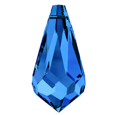 Swarovski Crystal Pendants 12 x Sapphire Blue 11 x 5.5 mm teardrop drop beads
