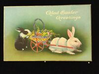 GLAD EASTER GREETINGS Bunny Rabbits Wagon Eggs USA Antique Postcard Ca 1909