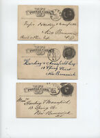 3 1870s postal cards negative number/letter cancels NY ,Brooklyn [H.1160]