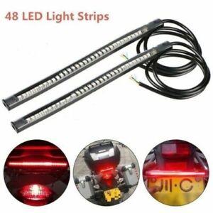 2x 48 LED Flexible Motorcycle Tail Brake Stop Light Turn Signal Strip Indicator