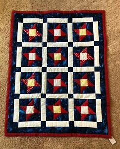 Patchwork Quilt handmade baby or small crib size cotton fabrics Friendship Star
